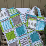 Elephant Bedding - Turquoise, Green, Gray - Elephant Nursery Bedding