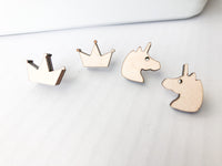 Wooden Stud Earrings, Hypoallergenic - A Vision to Remember