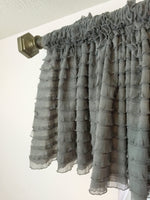 Gray Ruffle Valance - Extra Wide Sheer Window Curtain - A Vision to Remember