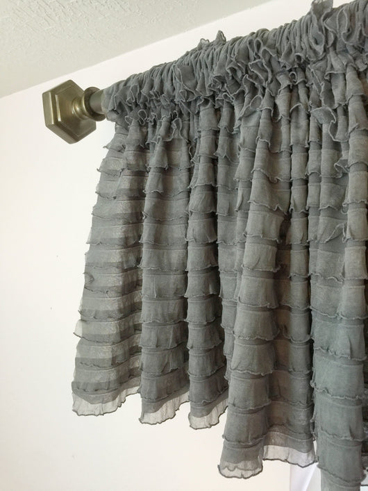 Gray Ruffle Valance - Extra Wide Sheer Window Curtain - Ruffle Curtain - A Vision to Remember