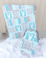 Woodland Baby Quilt - Turquoise / Gray - Crib Bedding - A Vision to Remember