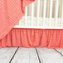Light Coral Ruffle Crib Skirt for Baby Girl Nursery Bedding - Crib Bedding - A Vision to Remember