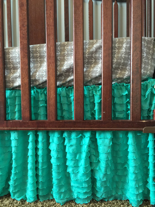 Mint Ruffle Crib Skirt for Baby Girl Nursery Bedding - Crib Bedding - A Vision to Remember