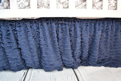 Navy Blue Ruffle Crib Skirt for Baby Girl Nursery Bedding - Crib Bedding - A Vision to Remember