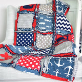 Nautical Boys Crib Bedding for Baby Nursery - Red / Navy Blue / Gray - Crib Bedding - A Vision to Remember