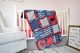 Nautical Boys Crib Bedding for Baby Nursery - Red / Navy Blue / Gray - A Vision to Remember