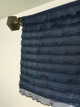 Navy Blue Ruffle Valance - Extra Wide Sheer Window Curtain - Ruffle Valance - A Vision to Remember