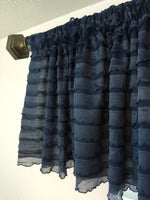 Navy Blue Ruffle Valance - Extra Wide Sheer Window Curtain - A Vision to Remember