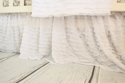 White Ruffle Crib Skirt for Baby Girl Nursery Bedding - Crib Bedding - A Vision to Remember