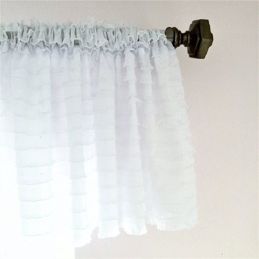 White Ruffle Valance - Extra Wide Sheer Window Curtain - Ruffle Valance - A Vision to Remember