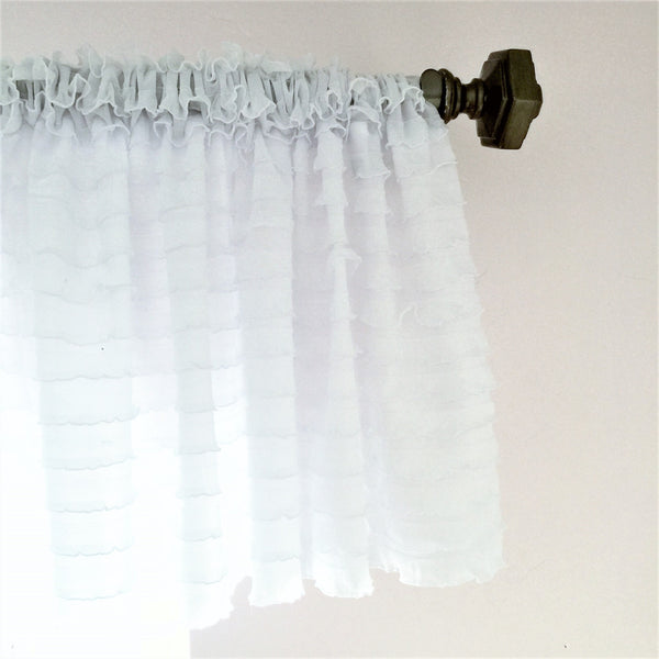 White Ruffle Valance - Extra Wide Sheer Window Curtain - A Vision to Remember