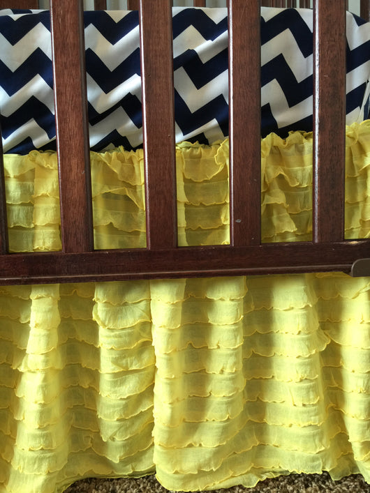 Yellow Ruffle Crib Skirt for Baby Girl Nursery Bedding - Crib Bedding - A Vision to Remember