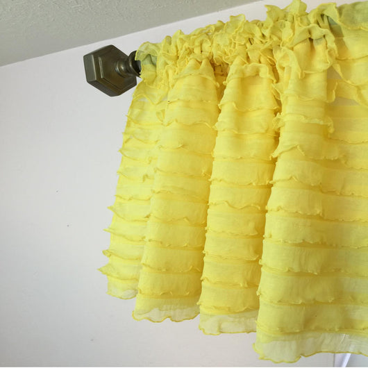 Yellow Ruffle Valance - Extra Wide Sheer Window Curtain - Ruffle Curtain - A Vision to Remember