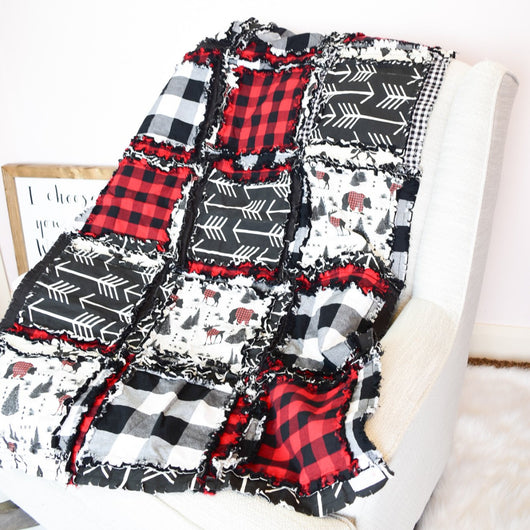 Bears & Moose / Buffalo Plaid Baby Crib Rag Quilt - Red / Black - Crib Bedding - A Vision to Remember
