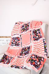 Modern Floral Nursery Baby Girl Floral Crib Rag Quilt - Coral / Navy Blue - Crib Bedding - A Vision to Remember
