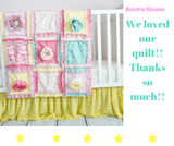Hibiscus Flower Baby Girl Rag Quilt Blanket - Hot Pink / Lime Green - Crib Bedding - A Vision to Remember