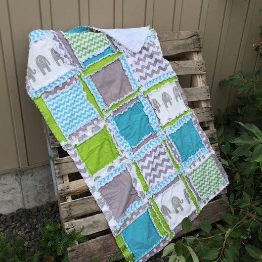 Elephant Baby Crib Quilt in Turquoise, Green, and Gray for Baby Boy Nursery and Toddler Bedding - Crib Bedding - A Vision to Remember