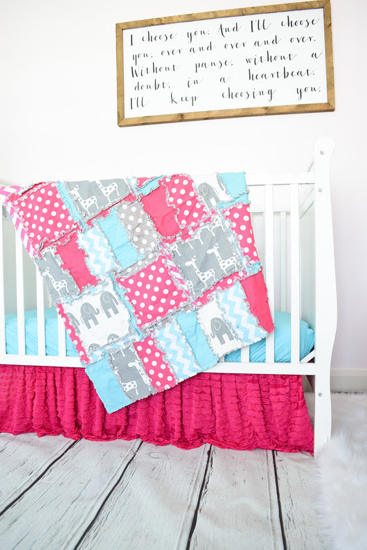 Elephant & Giraffe Baby Girl Crib Bedding - Hot Pink / Aqua / Gray Nursery