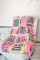 Modern Floral & Stripe Nursery Baby Girl Floral Crib Rag Quilt - Black / Hot Pink / Yellow / Gray - A Vision to Remember