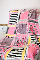 Modern Floral & Stripe Nursery Baby Girl Floral Crib Rag Quilt - Black / Hot Pink / Yellow / Gray