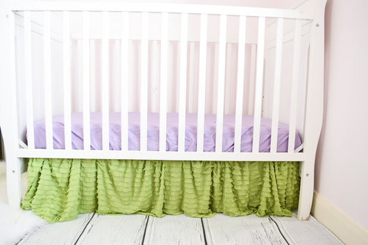 Green Ruffle Crib Skirt for Baby Girl Nursery Bedding