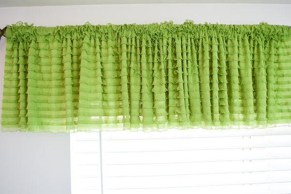 Green Ruffle Valance - Extra Wide Sheer Window Curtain - A Vision to Remember