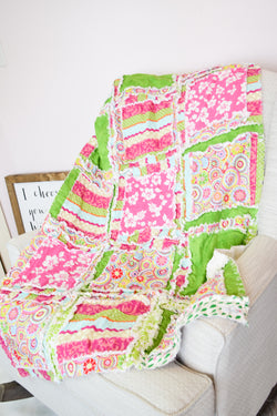 Hibiscus Flower Baby Girl Rag Quilt Blanket - Hot Pink / Lime Green