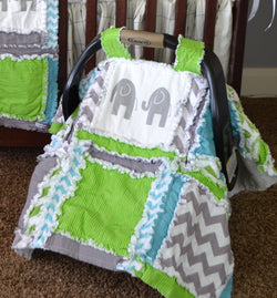 Elephant Car Seat Canopy for Baby Boy - Lime, Gray, Blue - Boy Car Seat Canopy - Car Seat Canopy - A Vision to Remember
