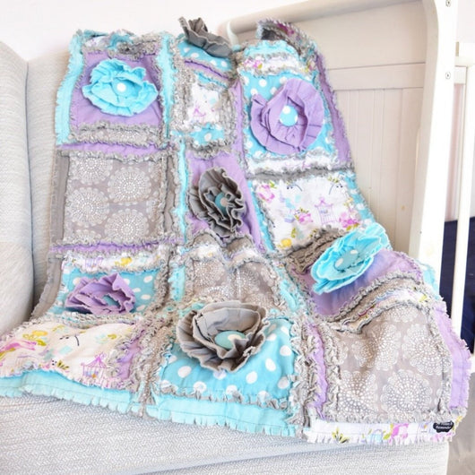 Baby Girl Crib Quilt - Aqua / Gray / Purple - Crib Bedding - A Vision to Remember