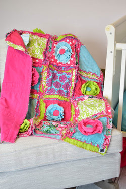 Bright & Cheery Floral Girl Toddler Quilt Bedding - Hot Pink / Green / Turquoise - Crib Bedding - A Vision to Remember