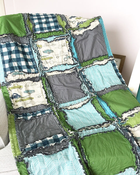 Vintage Cars Crib Bedding for Baby Boy Nursery - Gray / Blue / Green - A Vision to Remember