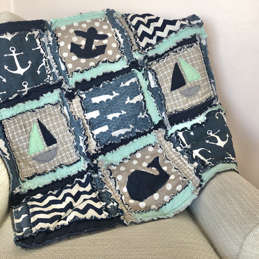 Nautical Crib Bedding For Baby Boys Nursery - Grey / Navy Blue / Mint - Crib Bedding - A Vision to Remember