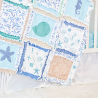 Beach Baby Rag Quilt, Seashells & Seahorses - A Vision to Remember