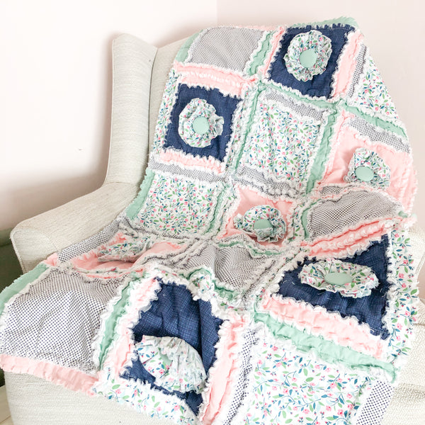 Floral Baby Girl Nursery Crib Bedding & Rag Quilt - Blush Pink / Navy Blue / Mint - A Vision to Remember