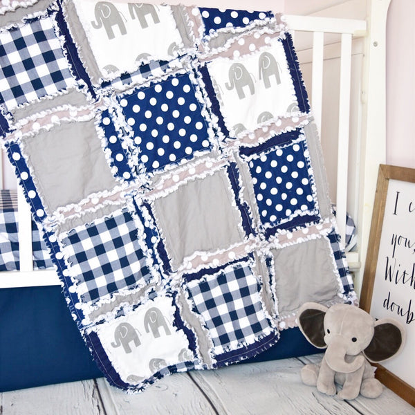 Elephant Baby Boy Crib Bedding - Navy Blue / Gray Nursery - A Vision to Remember