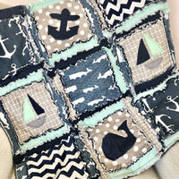 Nautical Crib Bedding For Baby Boys Nursery - Grey / Navy Blue / Mint - A Vision to Remember