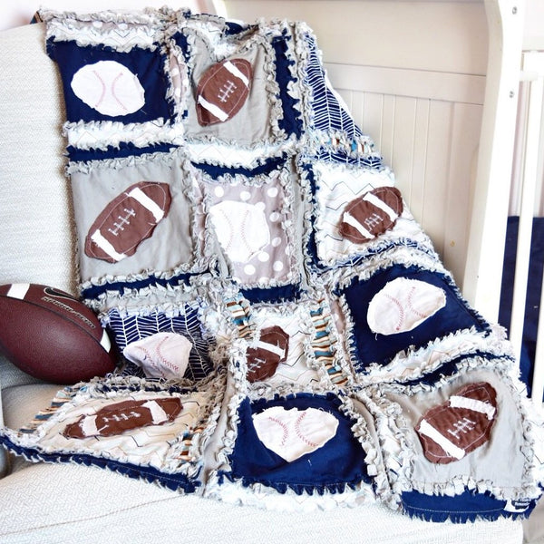 Sports Baby Quilt - Navy / Gray - Football / Baseball - A Vision to Remember