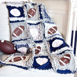 Toddler Sports Baby Quilt - Navy / Gray - Football / Baseball - Crib Bedding - A Vision to Remember