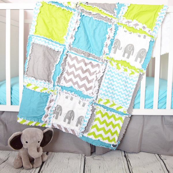 Elephant Baby Boy Crib Bedding - Gray / Turquoise / Lime Green - A Vision to Remember