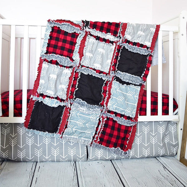 Bears / Buffalo Plaid Crib Bedding - Red / Black / Gray - A Vision to Remember
