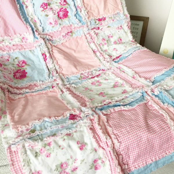 Shabby Baby Girl Rag Quilt - A Vision to Remember