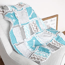 Arrow Baby Quilt Crib Bedding in Turquoise and Gray - Crib Bedding - A Vision to Remember