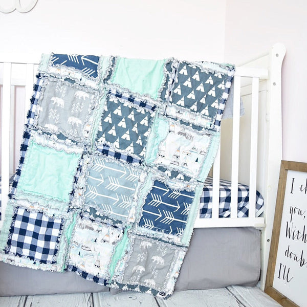 Bear and Teepees Crib Bedding - Navy / Gray / Mint - A Vision to Remember