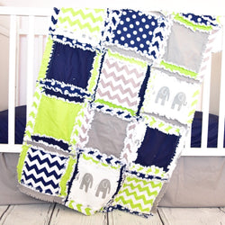 Elephant Baby Boy Crib Bedding - Navy / Lime / Gray - Crib Bedding - A Vision to Remember