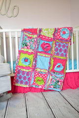 Bright & Cheery Floral Baby Girl Nursery Crib Bedding - Hot Pink / Green / Turquoise - Crib Bedding - A Vision to Remember