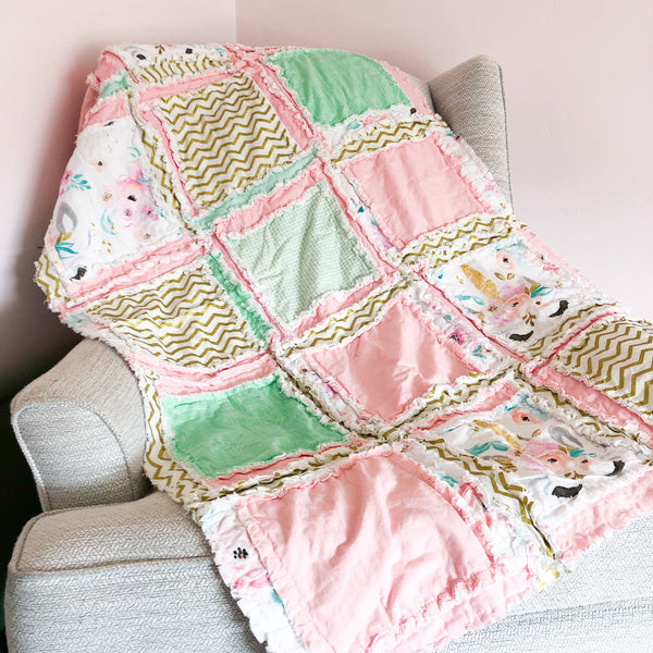 Unicorn Rag Quilt Baby Blanket - A Vision to Remember
