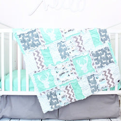 Woodland Crib Bedding - Mint / Gray