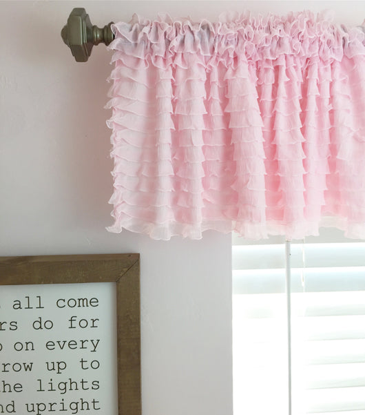 Light Pink Ruffle Valance - Sheer Window Curtain - Ruffle Curtain - A Vision to Remember