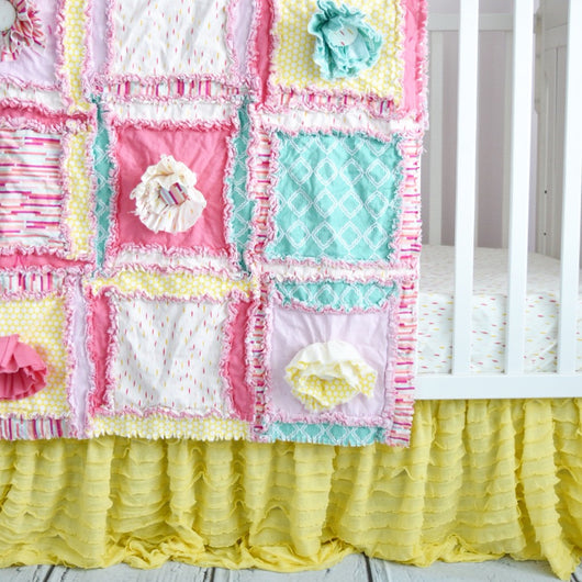 Crib Set in Pink, Mint, and Yellow, Rag Quilt Nursery, Includes Rag Quilt, Crib Skirt, Sheet and Bumpers - Crib Bedding - A Vision to Remember