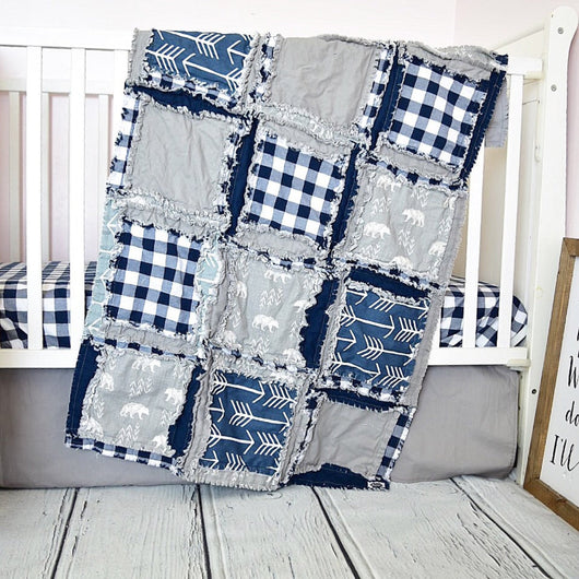 Bear and Teepees Crib Bedding - Navy / Gray - Crib Bedding - A Vision to Remember